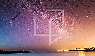 Reimagine logo overlaid on a starry night sky with rainbow gradient. Shooting star in sky.