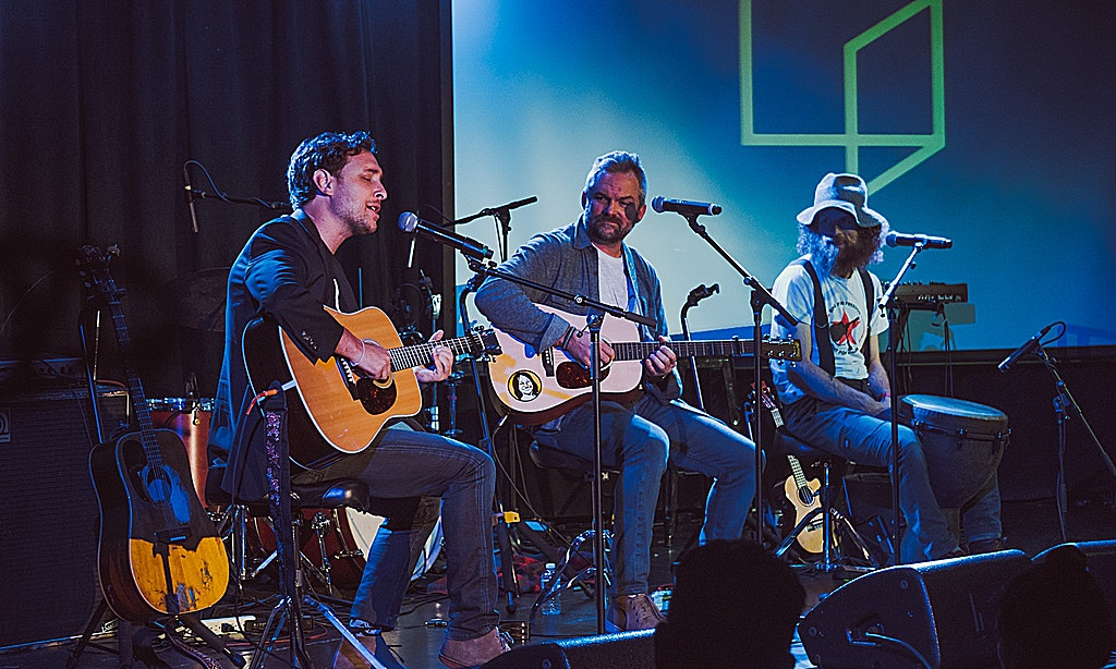 Reimagine founder Brad Wolfe and the band Dispatch performs at the 2018 New York City Reimagine festival