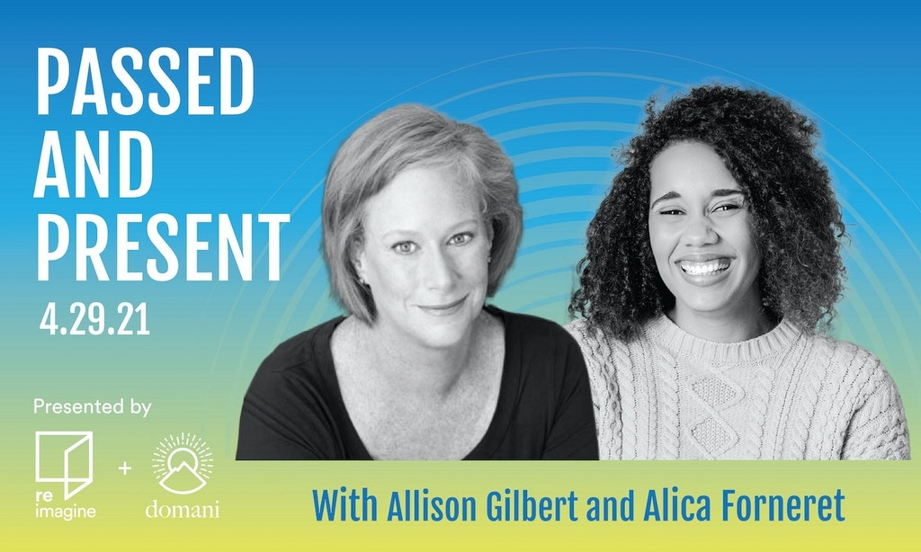 Headshots of Allison Gilbert and Alica Forneret on blue to green gradient background.